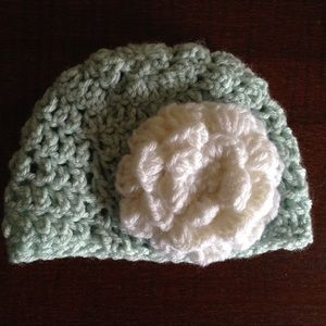 Other - Handmade Baby Hat w/Flower Accent